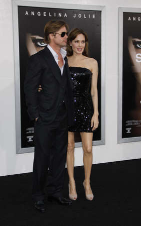 Angelina Jolie and Brad Pitt at the Los Angeles premiere of Salt held at the Graumans Chinese Theatre in Hollywood, USA on July 19, 2010.