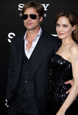 Brad Pitt and Angelina Jolie at the Los Angeles premiere of Salt held at the Graumans Chinese Theatre in Hollywood, USA on July 19, 2010.