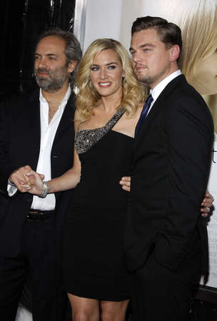Sam Mendes, Kate Winslet and Leonardo DiCaprio at the World premiere of Revolutionary Road held at the Mann Village Theater in Westwood, USA on December 15, 2008.