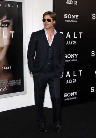 brad pitt: Brad Pitt at the Los Angeles premiere of Salt held at the Graumans Chinese Theater in Los Angeles, USA on July 19, 2010.
