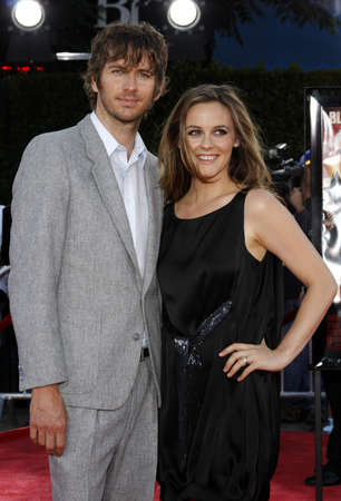Alicia Silverstone and Christopher Jarecki at the Los Angeles premiere of Tropic Thunder held at the Mann Village Theater in Westwood, USA on August 11, 2008.