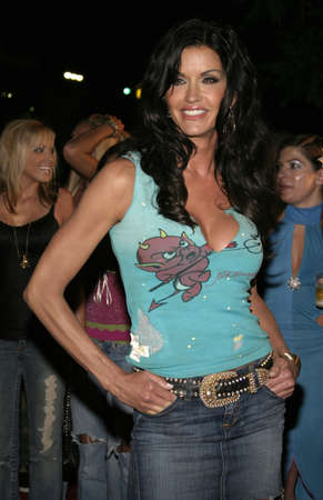 hardy: Janice Dickinson at Christian Audigier Fashion Show Featuring New Ed Hardy Label in Hollywood, USA on May 21, 2005. Editorial