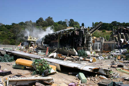blockbuster: Plane crash site from summer blockbuster War of the Worlds starring Tom Cruise and directed by Steven Spielberg in Universal Studios Hollywood, USA on April 24, 2005.