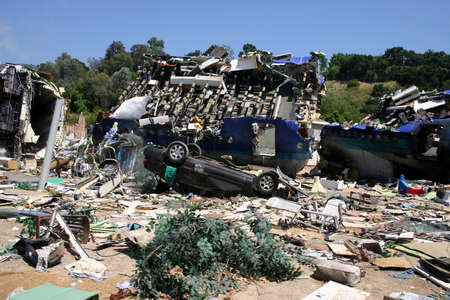 steven: Plane crash site from summer blockbuster War of the Worlds starring Tom Cruise and directed by Steven Spielberg in Universal Studios Hollywood, USA on April 24, 2005.