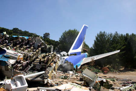 Plane crash site from summer blockbuster War of the Worlds starring Tom Cruise and directed by Steven Spielberg in Universal Studios Hollywood, USA on April 24, 2005.