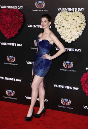hathaway: Anne Hathaway at the Los Angeles premiere of Valentines Day held at the Graumans Chinese Theater in Hollywood, USA on February 8, 2010. Editorial
