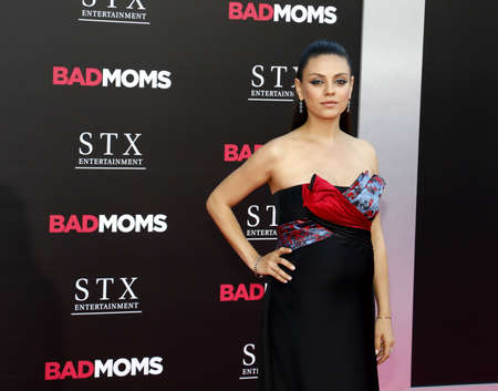 mann: Mila Kunis at the Los Angeles premiere of Bad Moms held at the Mann Village Theater in Westwood, USA on July 26, 2016.