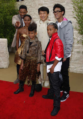 chan: Jackie Chan, Jada Pinkett Smith, Jaden Smith, Willow Smith and Will Smith at the Los Angeles premiere of The Karate Kid held at the Mann Village Theater in Westwood, USA on June 7, 2010.