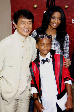 chan: Jackie Chan, Jaden Smith and Ciara at the Los Angeles premiere of The Karate Kid held at the Mann Village Theater in Westwood, USA on June 7, 2010. Editorial