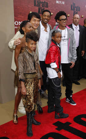 Jackie Chan, Will Smith, Jada Pinkett Smith, Jaden Smith and Willow Smith at the Los Angeles premiere of The Karate Kid held at the Mann Village Theater in Westwood, USA on June 7, 2010.