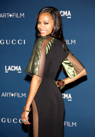 Zoe Saldana at the LACMA 2013 Art + Film Gala Honoring Martin Scorsese And David Hockney Presented By Gucci held at the LACMA in Los Angeles, USA on November 2, 2013.