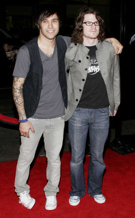 pete: Andy Hurley and Pete Wentz of Fall Out Boy at the Los Angeles premiere of Snakes on a Plane held at the Graumans Chinese Theatre in Hollywood, USA on August 17, 2006.