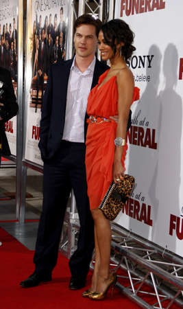 keith: Zoe Saldana and Keith Britton at the World premiere of Death At A Funeral held at the Arclight Cinerama Dome in Hollywood, USA on April 12, 2010. Editorial