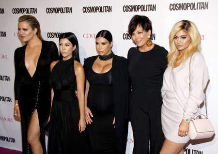 Khloe Kardashian, Kourtney Kardashian, Kim Kardashian, Kris Jenner and Kylie Jenner at the Cosmopolitans 50th Birthday Celebration held at the Ysabel in Los Angeles, USA on October 12, 2015.