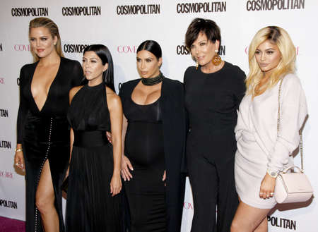 Khloe Kardashian, Kourtney Kardashian, Kim Kardashian, Kris Jenner and Kylie Jenner at the Cosmopolitan's 50th Birthday Celebration held at the Ysabel in Los Angeles, USA on Sunday October 12, 2015. Redactioneel