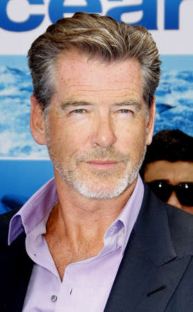 Pierce Brosnan at the Los Angeles premiere of 'Oceans' held at the El Capitan Theater in Hollywood, USA on April 17, 2010.