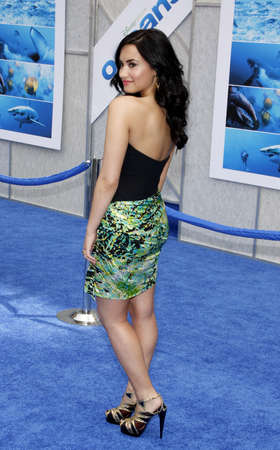 Demi Lovato at the Los Angeles premiere of Oceans held at the El Capitan Theater in Hollywood, USA on April 17, 2010.