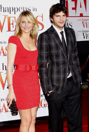 Cameron Diaz and Ashton Kutcher at the World premiere of What Happens in Vegas held Mann Village Theater in Westwood, California, United States on May 1, 2008.