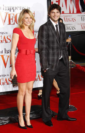 Ashton Kutcher and Cameron Diaz at the World premiere of What Happens in Vegas held Mann Village Theater in Westwood, California, United States on May 1, 2008. Editorial