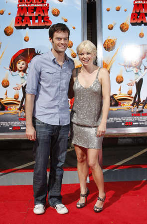 Bill Hader and Anna Faris at the Los Angeles premiere of Cloudy With A Chance Of Meatballs held at the Mann Village Theater in Westwood, California, United States on September 12, 2009. Editorial