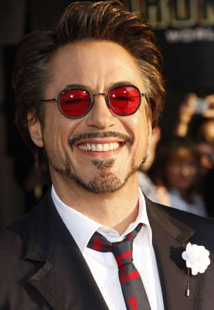 Robert Downey Jr. at the World premiere of Iron Man 2 held at the El Capitan Theater in Hollywood, California, United States on April 26, 2010. Редакционное