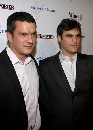 Balthazar Getty and Joaquin Phoenix at the Art of Elysium Presents Russel Young fame, shame and the realm of possibility held at the Minotti Los Angeles in West Hollywood, USA on November 30, 2005.