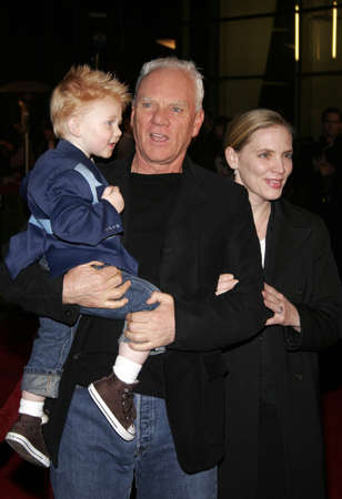 1212005 - Hollywood - Malcolm McDowell, wife Kelley and son Beckett Taylor at the Aeon Flux World Premiere at the Cinerama Dome in Hollywood, CA, United States.