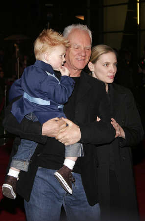 hollywood christmas: Malcolm McDowell, wife Kelley and son Beckett Taylor at the opening of stage musical version of Irving Berlins White Christmas held at the Pantages Theatre in Hollywood, California, United States on November 28, 2005. Editorial