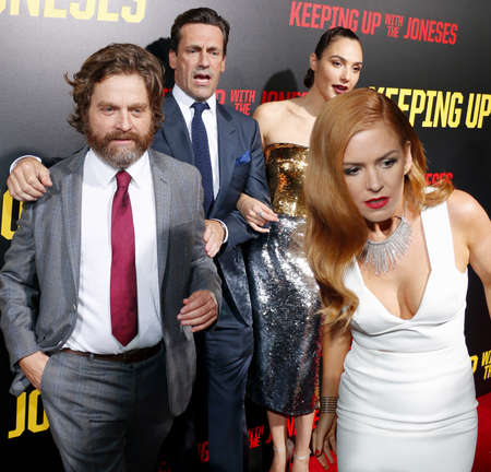 gal: Zach Galifianakis, Isla Fisher, Jon Hamm and Gal Gadot at the Los Angeles premiere of Keeping Up With The Joneses held at the Fox Studios in Los Angeles, USA on October 8, 2016.