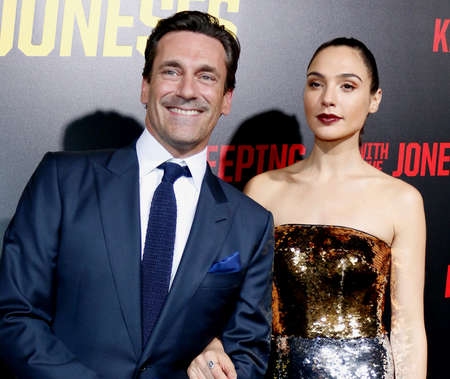 gal: Jon Hamm and Gal Gadot at the Los Angeles premiere of Keeping Up With The Joneses held at the Fox Studios in Los Angeles, USA on October 8, 2016. Editorial