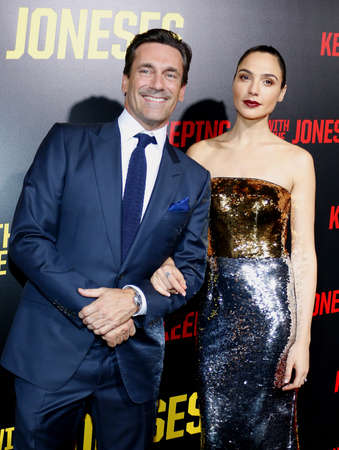 gal: Jon Hamm and Gal Gadot at the Los Angeles premiere of 'Keeping Up With The Joneses' held at the Fox Studios in Los Angeles, USA on October 8, 2016. Editorial