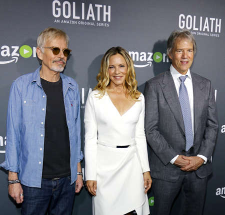 david and goliath: Billy Bob Thornton, Maria Bello and David E. Kelley at the Los Angeles premiere of Amazons Goliath held at the London Hotel in West Hollywood, USA on September 29, 2016.