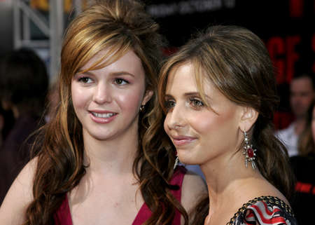 Amber Tamblyn and Sarah Michelle Gellar at the World premiere of The Grudge 2 held at the Knotts Berry Farm in Buena Park, USA on October 8, 2006. Editorial
