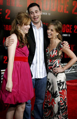grudge: Amber Tamblyn, Freddie Prinze Jr. and Sarah Michelle Gellar at the World premiere of The Grudge 2 held at the Knotts Berry Farm in Buena Park, California, United States on October 6, 2006.