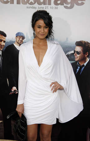 Emmanuelle Chriqui at the HBOs Entourage Season 7 Premiere held at the Paramount Studios lot in Hollywood, USA on June 16, 2010.
