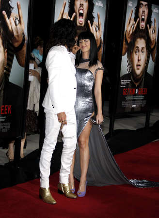 perry: Russell Brand and Katy Perry at the World premiere of Get Him To The Greek held at the Greek Theater in Hollywood, California, United States on May 25, 2010.