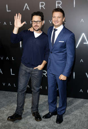 ufos: J.J. Abrams and Jeremy Renner at the Los Angeles premiere of Arrival held at the Regency Village Theater in Westwood, USA on November 6, 2016. Editorial