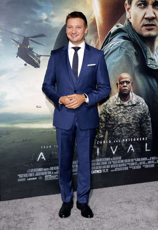 ufos: Jeremy Renner at the Los Angeles premiere of Arrival held at the Regency Village Theater in Westwood, USA on November 6, 2016.