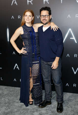 ufos: J.J. Abrams and Amy Adams at the Los Angeles premiere of Arrival held at the Regency Village Theater in Westwood, USA on November 6, 2016.