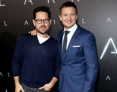 ufos: Jeremy Renner and J.J. Abrams at the Los Angeles premiere of Arrival held at the Regency Village Theater in Westwood, USA on November 6, 2016.