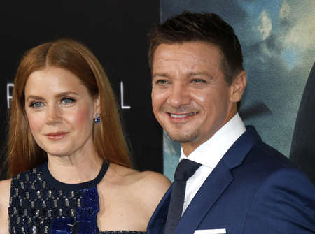 ufos: Jeremy Renner and Amy Adams at the Los Angeles premiere of Arrival held at the Regency Village Theater in Westwood, USA on November 6, 2016.