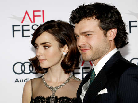 Lily Collins and Alden Ehrenreich at the AFI FEST 2016 Opening Night Premiere of Rules Dont Apply held at the TCL Chinese Theatre in Hollywood, USA on November 10, 2016.