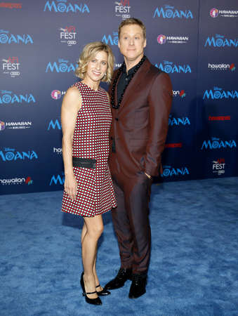 Charissa Barton and Alan Tudyk at the AFI FEST 2016 Premiere of 'Moana' held at the El Capitan Theatre in Hollywood, USA on November 14, 2016. Stok Fotoğraf - 65918960