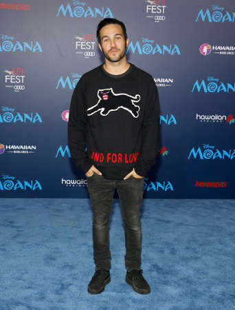pete: Pete Wentz of Fall Out Boy at the AFI FEST 2016 Premiere of Moana held at the El Capitan Theatre in Hollywood, USA on November 14, 2016. Editorial