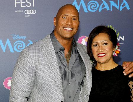 ata: Dwayne Johnson and mom Ata Johnson at the AFI FEST 2016 Premiere of Moana held at the El Capitan Theatre in Hollywood, USA on November 14, 2016.