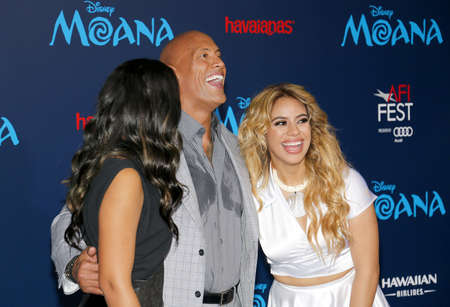 alexandra: Simone Alexandra Johnson, Dwayne Johnson and Dinah-Jane Hansen at the AFI FEST 2016 Premiere of Moana held at the El Capitan Theatre in Hollywood, USA on November 14, 2016.