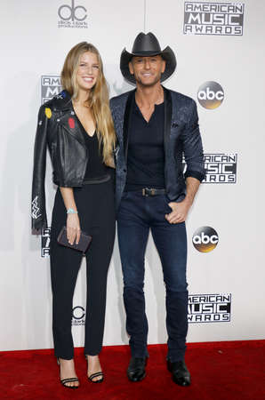 mcgraw: Tim McGraw and Maggie McGraw at the 2016 American Music Awards held at the Microsoft Theater in Los Angeles, USA on November 20, 2016.