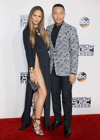 Chrissy Teigen and John Legend at the 2016 American Music Awards held at the Microsoft Theater in Los Angeles, USA on November 20, 2016.