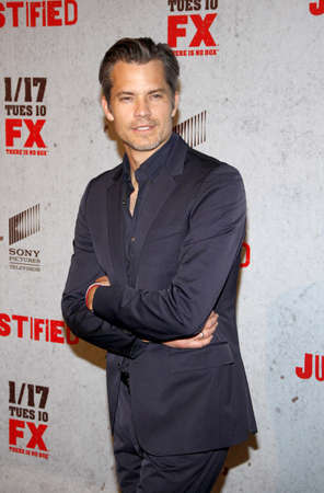 justified: Timothy Olyphant at the season 3 premiere screening of FXs Justified held at the DGA Theater in Hollywood, USA on January 10, 2012.