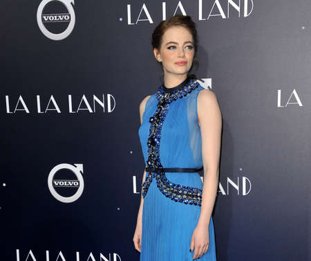 Emma Stone at the Los Angeles premiere of La La Land held at the Mann Village Theatre in Westwood, USA on December 6, 2016. Editorial